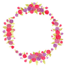 berry wreath. berries.Fresh berries. watercolor wreath.