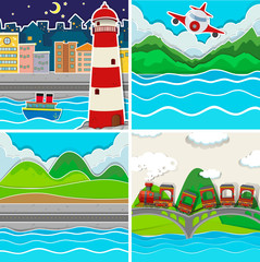 Nature scene in four places
