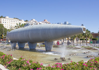 Perral submarine on the seafront in Cartagena Murcia Spain