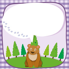 Brown bear with speech bubble