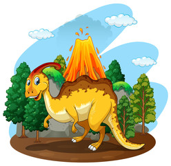 Dinosaur living in the forest