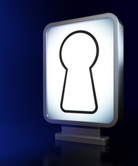 Security concept: Keyhole on billboard background