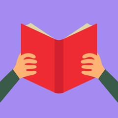 Reading book flat icon