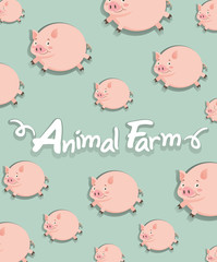 Farm animal with pigs background