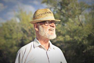 Elderly man wearing a hat