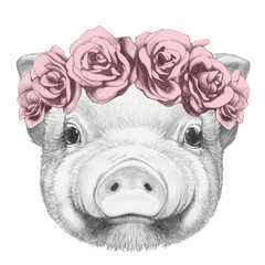 Portrait of Piggy with floral head wreath. Hand drawn illustration.