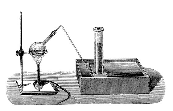 Vintage chemistry engraving - extracting oxygen from potassium chlorate