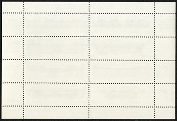 Blank postage stamp block souvenir sheet on a black background