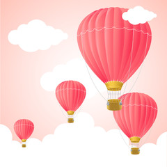 Pink Hot Air Card. Vector