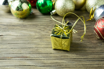 Gifts, Balls,on old Wooden Background