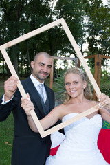 wedding couple in a frame