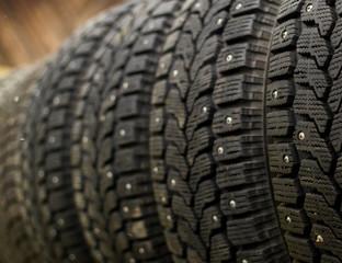 Row of Car Winter Snow Tyres