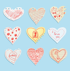 heart in paper note, vector illustration.