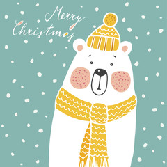 Cute christmas greeting card, invitation, with hand drawn polar bear, vector