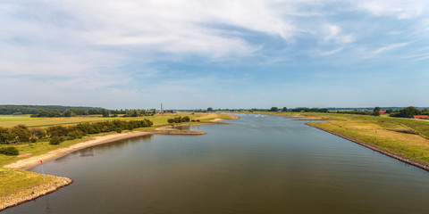 Panoramic view of the Dutch river Nederrijn