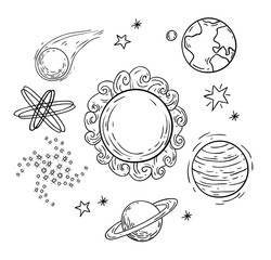 planets Doodle, hand drawn vector illustration.