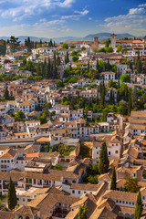 Aerial View of the historical town of Granada, beautiful city