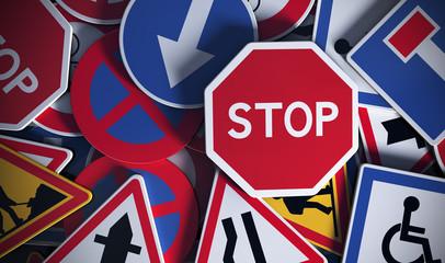 Panneaux de signalisation vue de face, code de la route. Wall mural