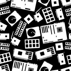 internal desktop computer components seamless dark pattern eps10