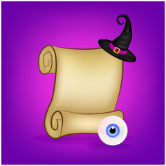 Halloween banner, card with empty paper scroll and eyeball, witches hat. Blank ancient scroll of parchment wallpaper, background. Poster or brochure for Halloween party. Vector illustration.