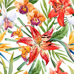Vector tropical watercolor lilly pattern