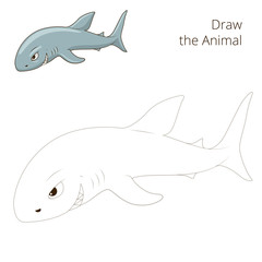 Draw the fish animal shark educational game