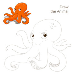Draw the fish animal octopus educational game