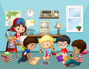 Many children working in classroom