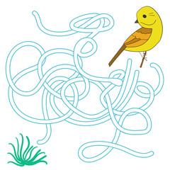 Game labyrinth find a way bird vector illustration