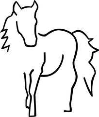 Beautiful horse sihouette hand drawn