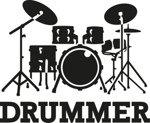 Drum set with word drummer
