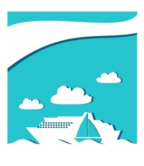 passenger ship and sail boat icon in ocean, paper cuuting