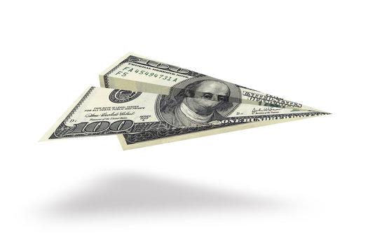 One hundred dollar plane isolated on white background