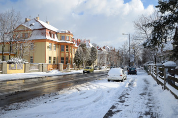 City street in winter Gliwice, Poland)