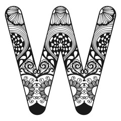 Zentangle stylized alphabet. Lace letter W in doodle style. Hand