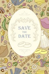 Wedding invitation cards with floral elements. Vector cards design. Wedding invitation, save the date. Vintage labels. Hand drawn floral ornaments with flowers and rings.
