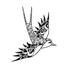 Hand drawn tribal Swallow, bird totem for adult Coloring Page or