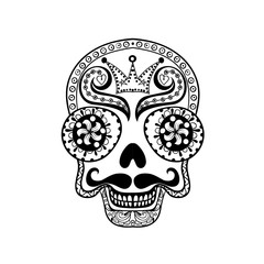 Vector  Dead Skull illustration, Hand drawn Skull in zentangle s