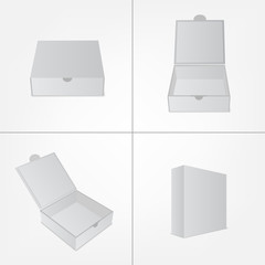 Set of packaging design mockup. Gray box in four views.