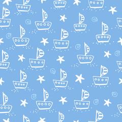 Illustration of ship on a blue background.
