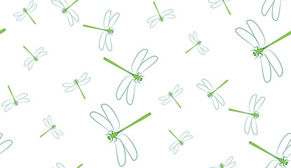 Vector seamless background of dragonflies. Chaotic dragonflies on a white background.