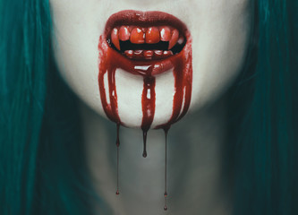 Scary vampire woman