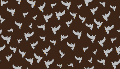 Vector seamless background of pigeons. Pattern of doves is perfect for printing.