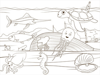 Coloring book sea life cartoon educational