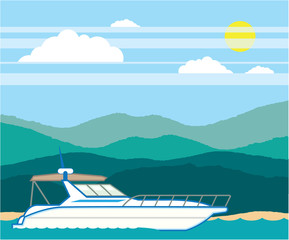 Cruiser Boat vector landscape shore