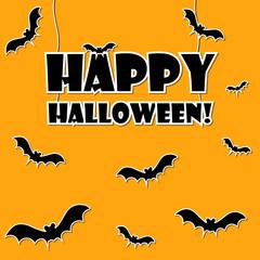 Happy Halloween text on orange background with flying bats around.