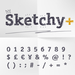 Vector hand drawn sketch style alphabet. Numbers and symbols.