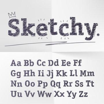 Vector hand drawn sketch latin alphabet set