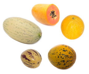 melons and pawpaw isolated