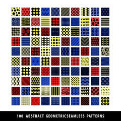 Set of colorful squares seamless patterns.